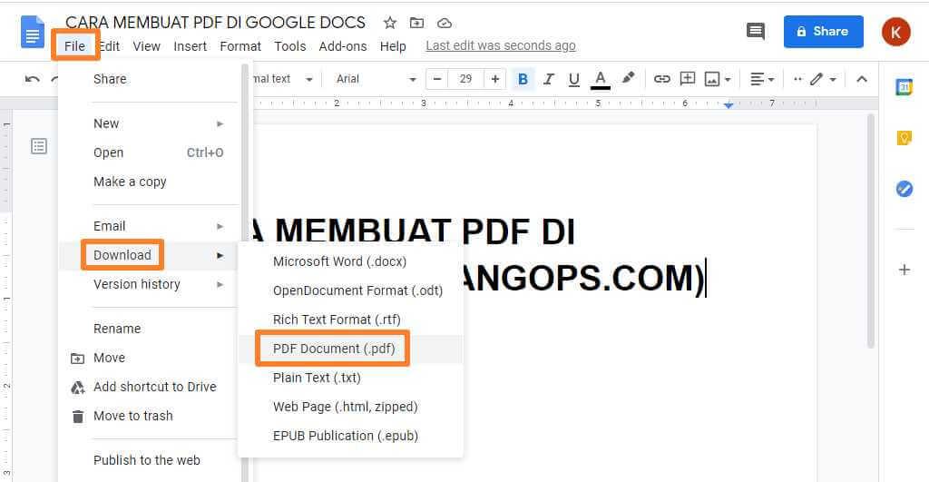 membuat pdf di google docs
