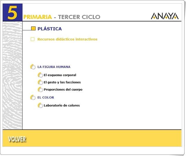 Recursos Didácticos Interactivos Anaya. Plástica de 5º Nivel de Primaria. (Deja huella)