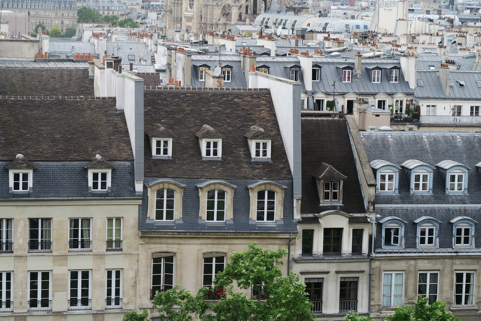 Parisian rooftops from above from our trip to Paris