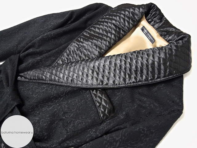 Mens quilted silk dressing gown black paisley jacquard robe