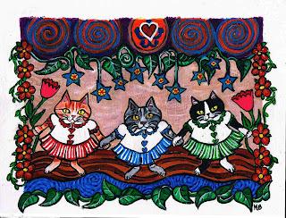 Folk Art Paper Doll Styled Kitties