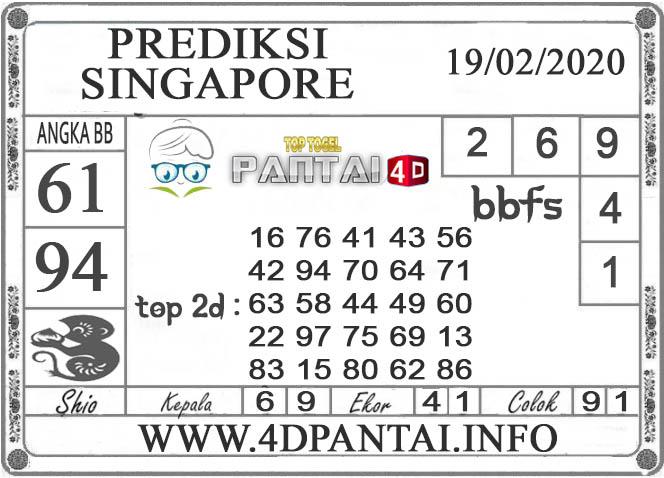 PREDIKSI TOGEL SINGAPORE PANTAI4D 19 FEBRUARI 2020
