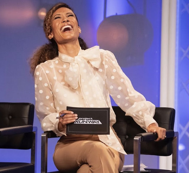 Elaine Welteroth wearing polka dot blouse and pants on Project Runway