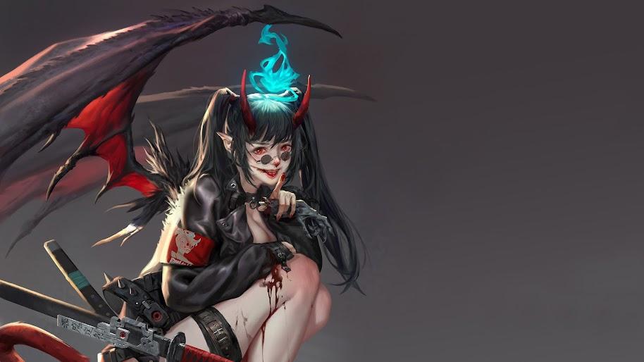 Demon, Girl, Fantasy, Art, Girl, Sci-Fi, 4K, #98