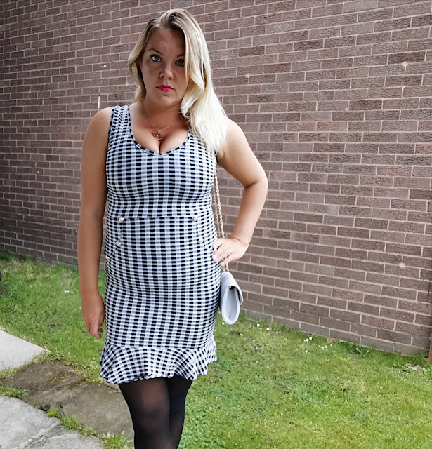 Gingham Button Ruffle Mini Dress