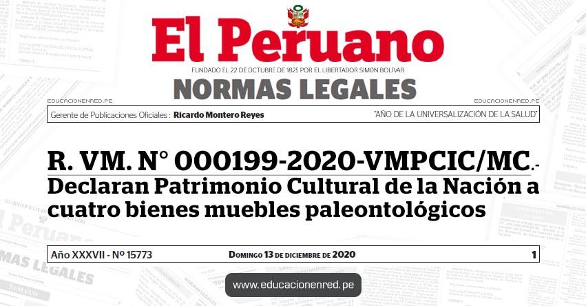 R. VM. N° 000199-2020-VMPCIC/MC.- Declaran Patrimonio Cultural de la Nación a cuatro bienes muebles paleontológicos