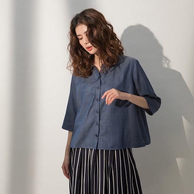 小領微甜七分袖單寧藍襯衫-晚安