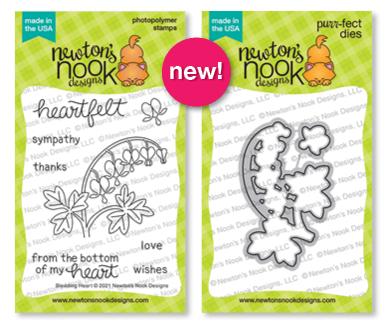 Bleeding Heart Stamp Set and Die Set by Newton's Nook Designs #newtonsnook