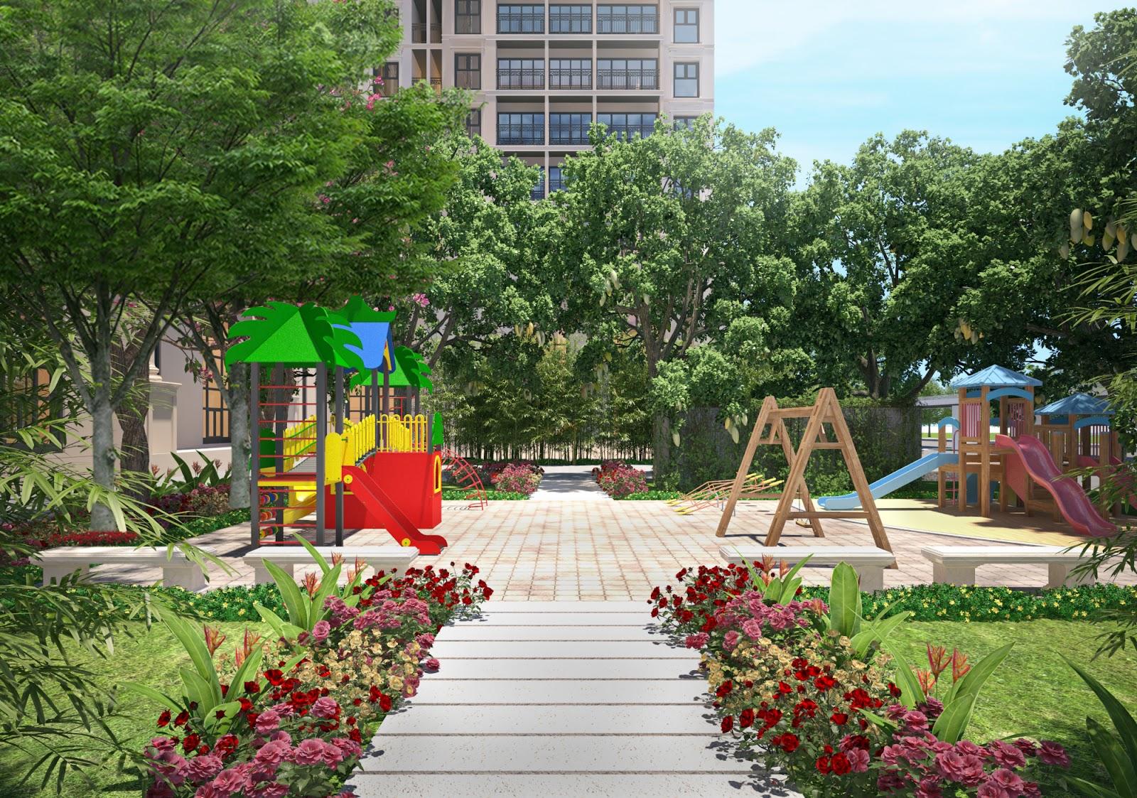 Sân chơi cho trẻ em cũng rợp bóng mát cây xanh