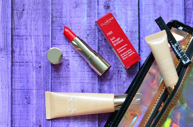 Clarins SOS Primer  02 peach, Clarins Joli Rouge Brillant 742S Joli  Rouge Clarins Instant Light Eye Perfecting Base
