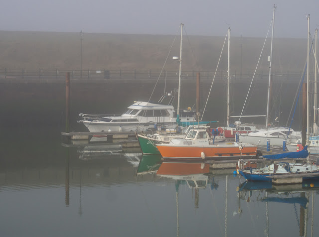 Photo of a misty start to the day at Maryport Marina on Sunday