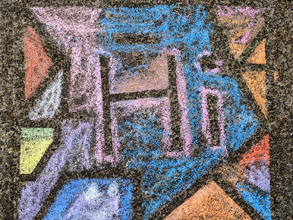 Sidewalk Chalk Art with Painters Tape