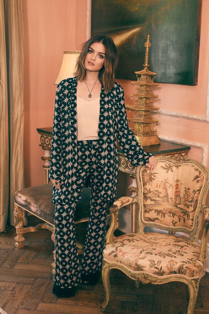 Lucy Hale wears Figure Akila kimono jacket and Gregorie pants
