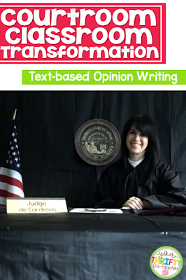 """When motivation seems to be dropping, this is usually an indication that a classroom transformation is in order.  Just walking into a """"new room"""" is enough to get students motivated to work their hardest. At this time of the year, I create a courtroom experience for my students where they were able to apply skills they've learned about text-based opinion writing in order to develop a focused and well supported paragraph."""
