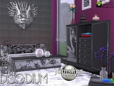 Disodium bedroom Динатриевая спальня для The Sims 4 Здесь для коллекции Disodium, Спальня современный уголок для вашего сима. в этом наборе. 1 двуспальная кровать диван. Подушки для кроватки. Стол деко для кровати вы найдете в категории misc deco. 1 скульптура, найти в категории беспорядки. 1 конец стола, чтобы поставить скульптуру. 1 настенная скульптура. 1 комод открытая дверь. 1 стул. Эффект подножки 1 конца стола. современный комфорт и сочетание стилей. когда симс сидит. Он слегка касается подлокотников на стуле. Автор: jomsims