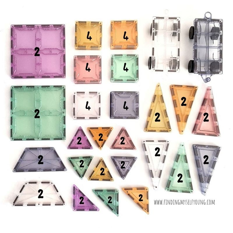 magblox pastel 64 piece tile set - number of each tiless included