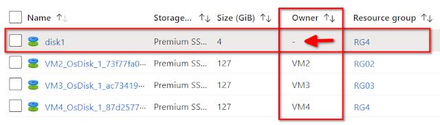 Azure: VM buscar discos sin usar