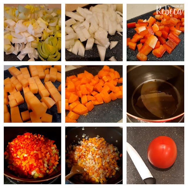 Receta de lentejas con verduras (o viudas): preparación de las hortalizas