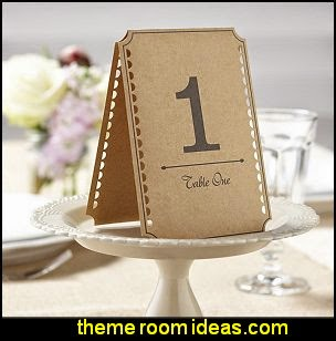 Brown Kraft Wedding Table Numbers - Vintage Affair