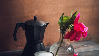 Peony Flower, petals, coffee, mug, kettle