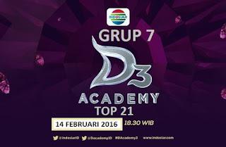 Peserta Grup 7 Babak 21 Besar D'Academy 3 Minggu 14 Februari 2016