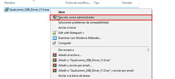 instalar los controladores USB de Qualcomm