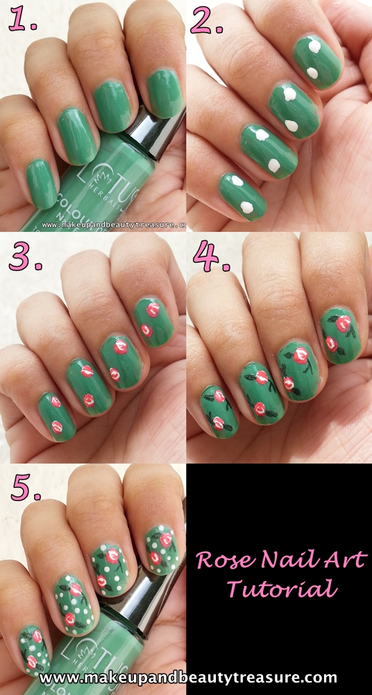 Rose Nail Net: Makeup And Beauty Treasure: Rose Nail Art Tutorial