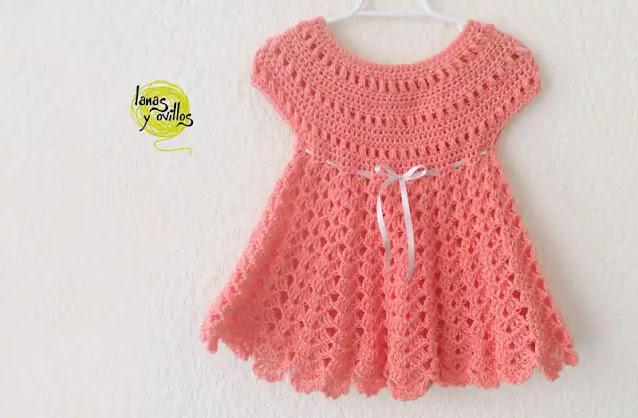 Vestido de Bebé Rosa Fácil a Crochet