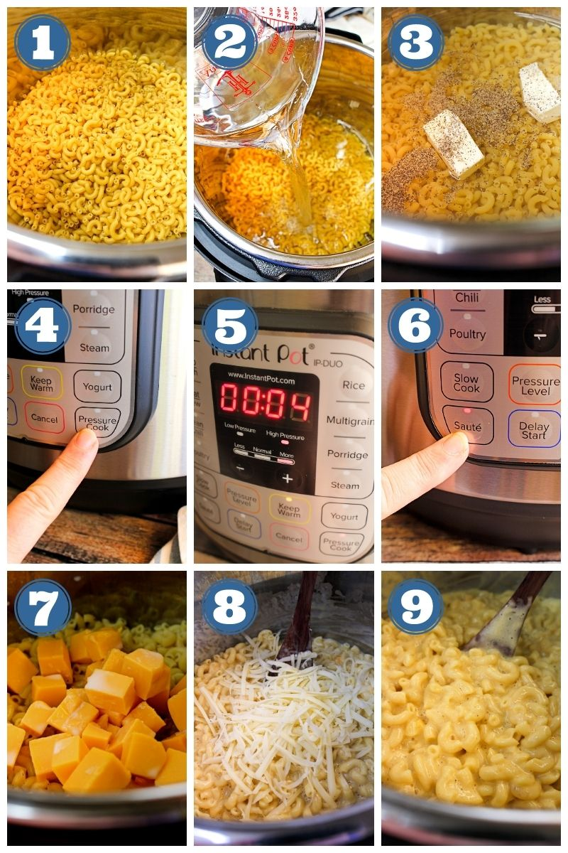 A collage of step by step phots making instant pot macaroni and cheese.