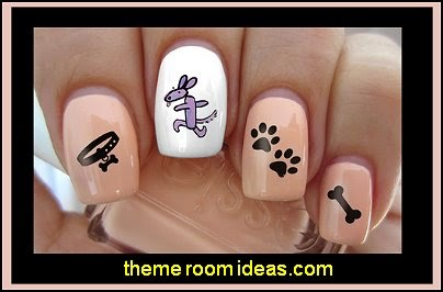 I Love My Dog Paw Prints Water Slide Nail Art Decals