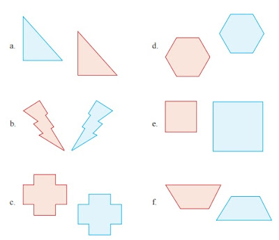 gambar yang berwarna biru merupakan hasil pencerminan dari gambar yang berwarna merah