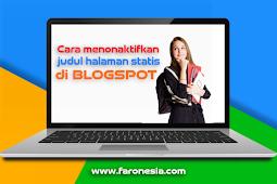 Cara menonaktifkan judul halaman statis di blogspot