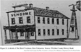 Sketch of Hotel Vendome, from The Great County Seat War: Coronado vs. Leoti, by Steve Harkness.