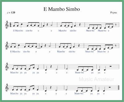 not balok lagu e mambo simbo lagu daerah papua