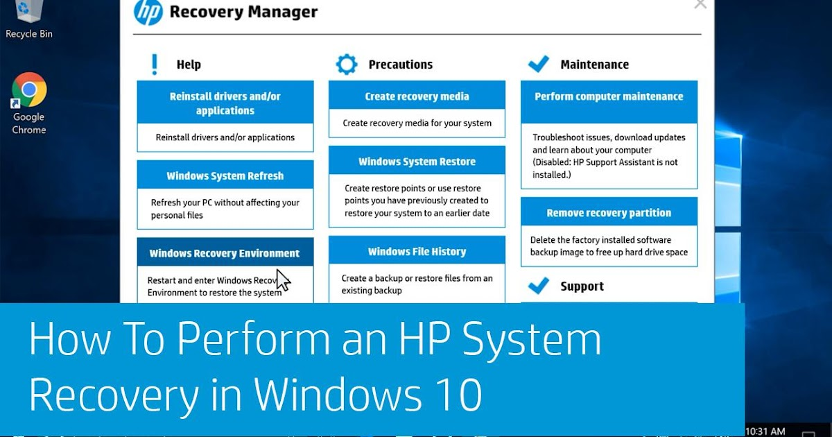 recovery manager windows 10