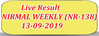 Kerala Lottery Result Today 13/09/2019 NIRMAL WEEKLY LOTTERY (NR-138)