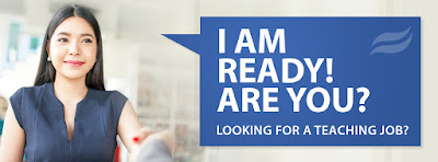 header for event flier.  Young woman looking ahead. Text: I am ready are you?  Looking for a teaching Job