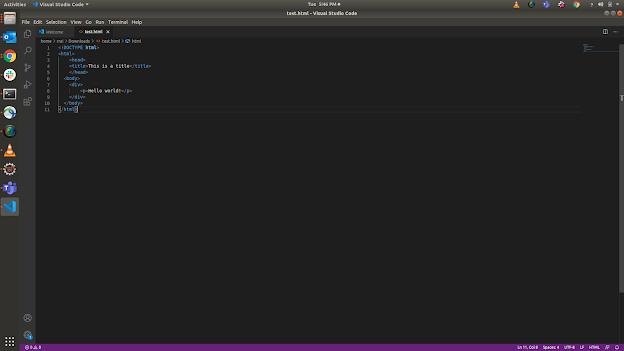HTML Hello world program in visual studio code