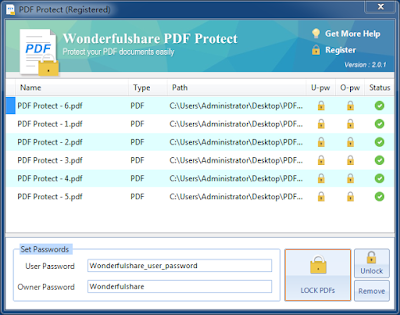 PDF encryption, Encrypt PDF, PDF protection, Encrypt, Encryption, Encryptor, secure  Wonderfulshare PDF Protect is a powerful application which could be used to encrypt, secure and lock your PDF files with owner password and user password. It enables you to protect your PDF files from unauthorized access, with as little effort as possible