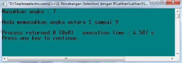Kondisi saat angka yang di input antara 1 sampai 9