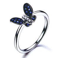 Cincin emas putih tunangan  Deep Blue Sapphire Butterfly