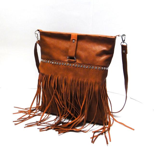 Кожаная женская сумка из коричневой овчины: длинный наплечный ремень, короткая ручка. Натуральная сумка с бахромой ручной работы