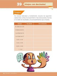 Apoyo Primaria Desafíos Matemáticos 5to. Grado Bloque III Lección 39 ¡Atajos con decimales!
