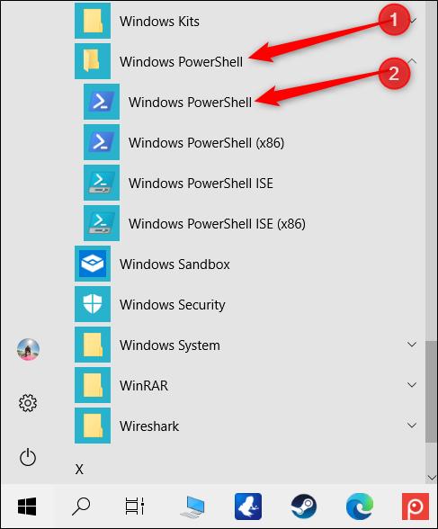 """انقر فوق المجلد """"Windows PowerShell"""" ، ثم انقر فوق """"Windows PowerShell""""."""