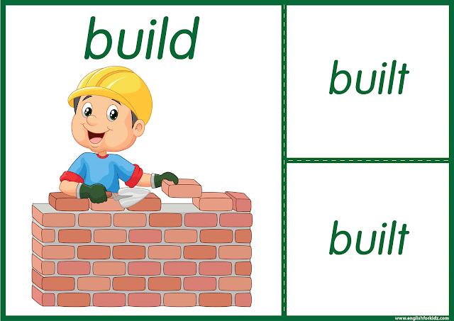 Irregular verb build - printable ESL flashcards