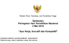 Sambutan Menteri Hari Pendidikan Nasional 2016