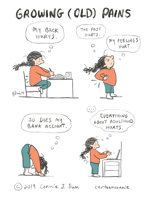 humor, comics, back pain, cartoon, connie sun, sketchbook, cartoonconnie, illustration