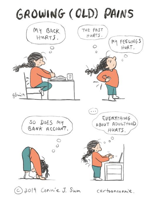 humor, comics, back pain, cartoon, connie sun, sketchbook, cartoonconnie, illustration