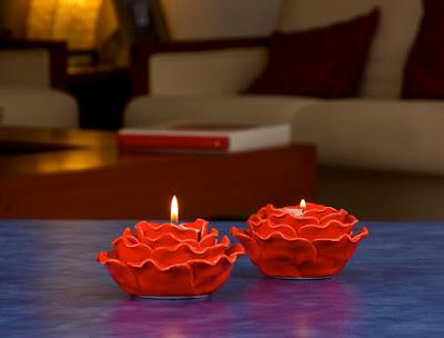 Red Rose Tea Light Holder