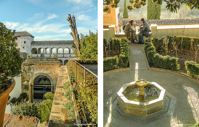 Jardins do Palácio Generalife, na Alhambra de Granada